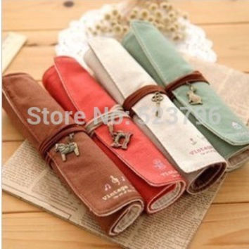 So Cute HOT Canvas Bag Holder Wrap Roll Up Stationery Pen Brushes Makeup Pencil Case Pouch