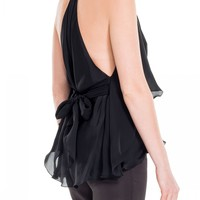 Silk Charmeuse Tie-Fronted Blouse by Leon Max | Max Studio Official