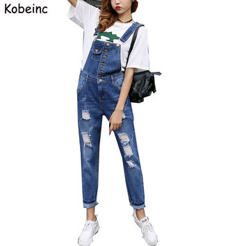 Super Cool Boyfriend Ripped Denim Jumpsuits Women Vintage Hollow Salopette Mujer 2017 New Overalls Plus size with Pocket Rompers