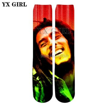YX GIRL 2018 summer New style Fashion Knee High Socks Reggae music Bob Marley characters Print 3d Men's Women's Hip hop Socks