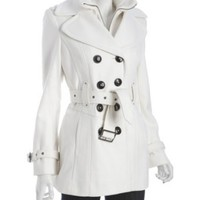 Miss Sixty ivory wool blend belted peacoat | BLUEFLY up to 70% off designer brands