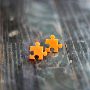 Tangerine Puzzle Stud Earrings,Plexiglass Earrings,Lasercut Acrylic