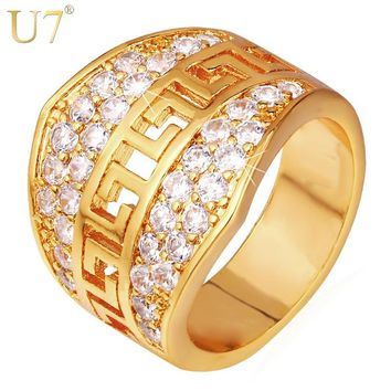 U7 Mens Ring Big Gold Color Luxury Cubic Zirconia Dropshipping Vintage Engagement Wedding Band Ring Gift Men Jewelry R392