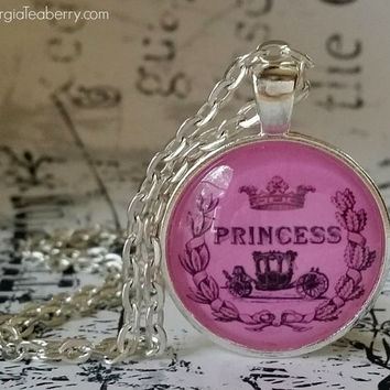 Princess, glass dome necklace, round glass pendant, gift idea, girls gift, party favors, Christmas, stocking stuffer, pink, crown, carriage