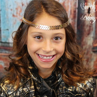 Shiny Flat Gold Feather Chain Headband