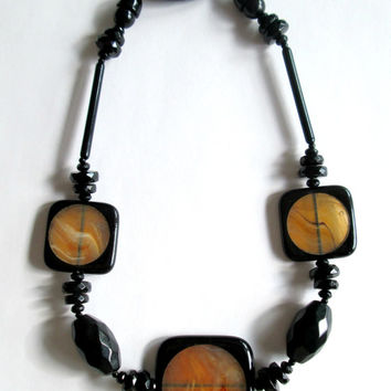 Art Deco Fiocchi Italy Lucite Necklace / Black and Amber Choker
