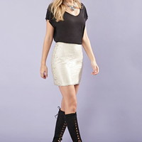 Matte Sequined Mini Skirt