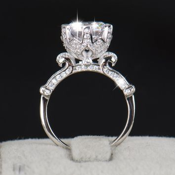 Stunning 4.0ct AAAAA .925 Solid Sterling Silver Flower Crown Ring