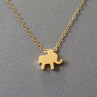 Baby elephant necklace  small simple gold charm slider on by louun