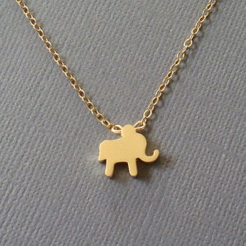 Baby elephant necklace - small simple gold charm slider on delicate 14K gold filled chain