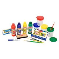 Melissa & Doug® Easel Accessory Set - Paint, Cups, Brushes, Chalk, Paper, Dry-Erase Marker