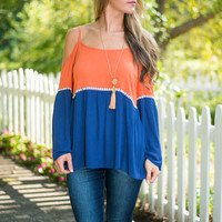 Halftime Show Top, Orange-Navy