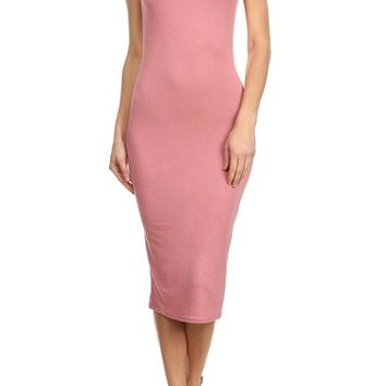 Sexy Solid Round Neck Cap Sleeve Bodycon Stretch Slim Fit Midi Cocktail Dress