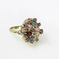 Thai Princess 9K Gemstone Ring, Antique Moghul Mughal Multi Color Ruby Spinel Gemstone Crown, Unique Engagement Promise Ring, Size 6.5
