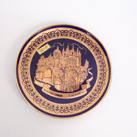 Vintage Salamanca Cathedral Plate Souvenir Cobalt Blue Encrusted Gold Spain Church National Monument Hand Painted Porcelain Made in Spain