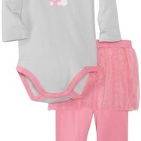 Gerber Baby-Girls Newborn 2 Piece Onesuits Brand Bodysuit with Tutu Leggings, Bunny, 3-6 Months