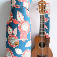 Ukulele case (Soprano Size) flower blue  Japanease fabric / with ukulele strap