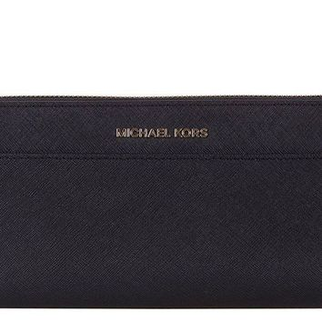NWT NEW Authentic Michael Kors Jet Set Travel Pocket Continental Wallet in Black