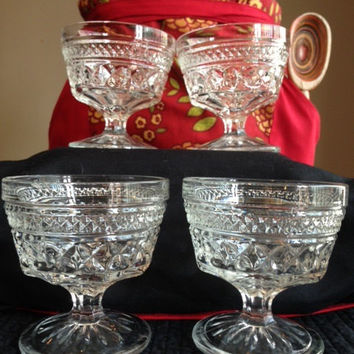 Clear Cut Glass Anchor Hocking Sherbet or Champagne Wexford Design Glasses- Vintage 1960's