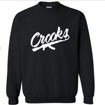 Crooks castles new fashion tide street skateboard street dance round neck turtleneck sweater-2