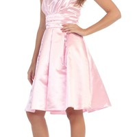Baby Pink Knee Length Bridesmaid Dress Strapless Empire Pleated Bodice