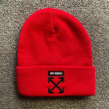 Off White Fashion New Embroidery Arrow Women Men Keep Warm Cap Hat Red