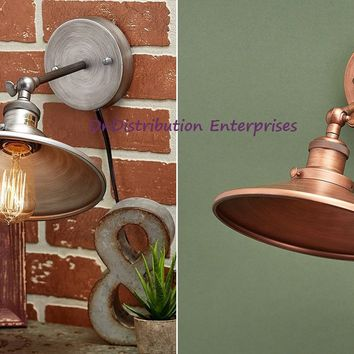 Rustic Vintage Metal Wall Lamp Sconce Copper or Silver Farmhouse Industrial