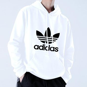 Adidas Autumn Winter Classic Popular Casual Print Long Sleeve Hooded Sweater Top Sweatshirt White