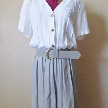 vintage white/grey ROMPER with belt. Onsesie romper. jumpsuit. made in USA