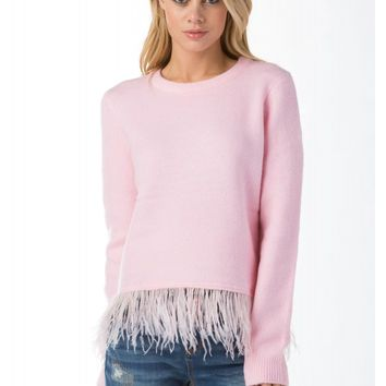 Cotton Candy Feather Trim Sweater