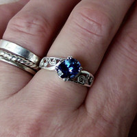 Lab Blue Sapphire Sterling Silver Ring