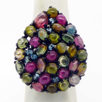 Huge Tourmaline, Blue Topaz and Ruby Black Rhodium Plated over Sterling Silver Ring, Size 7.5.