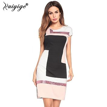 Ruiyige 2018 Women Sequin Pacthwork Summer Dress O-Neck Casual Falda Vestidos Sexy Sheath Party Contrast Dresses Midi Robes