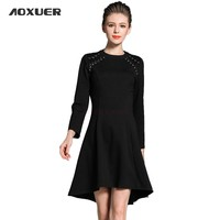 Women Autumn Winter New Black Red Bottoming Bead Dress O Neck Wrist Fashion Slim Party Knee