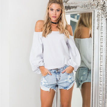 White Off Shoulder Striped Long Sleeve T-Shirt
