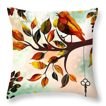Decorative accent throw pillow. Morning Bird, colorful pillow or cover, artwork on pillow, whimsical design