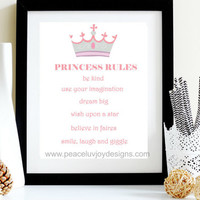 Princess Rules, 8x10, Instant Download, Girl Nursery Print, Nursery Printable, Nursery Wall Decor, Home Decor, Pastel Print, Wall Decor