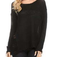 Oversized Black Distressed Pullover Punk Knit Sweater