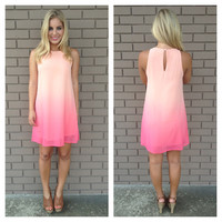 Peach Ombre Sleeveless Dress