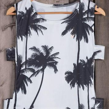 Day-First™ Coconut Palm Tree Print Tank Top