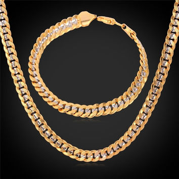 Classic Cool 18K Stamp Unisex 18K Two Tone Gold Plated Curb Chain Necklace Bracelet Set  MGC = 1946322052