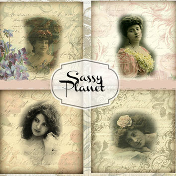3.8x3.8 inch Digital Images for Coasters - Digital Collage Sheet - Mini Greeting Cards Paper Goods or Gift Tags, Set of 4