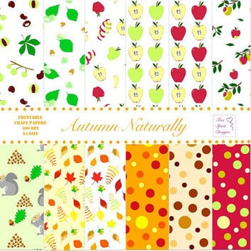 Digital Printable Autumn Naturally A4 Craft Papers, Leaves, Nuts, Apples, Warm Fall Tones, Scrapbooking, Card Making, Instant Download