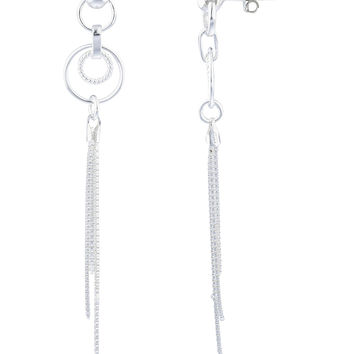 925 Sterling Silver Fancy Circle and Tassel Style Drop Earrings