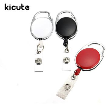 Kicute Hot Sale Retractable Pull Key Ring ID Badge Name Tag Lanyard Card Holder Recoil Reel Belt Clip Metal Housing Supplies