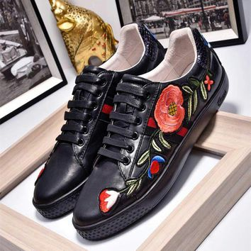Gucci Ace Embroidered Black Leather Low-top Sneaker