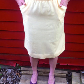 HighWaisted Pastel Yellow Skirt // With Pockets by HawkShopVintage