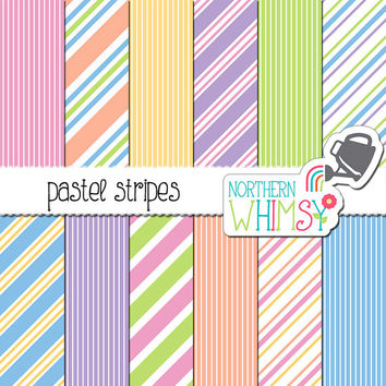 Pastel Stripe Digital Paper - pastel scrapbook paper with diagonal stripes in pink, peach, yellow, mint, blue, & lavender - commercial use