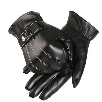 Hot Marketing Mens Luxurious PU Leather Winter Super Driving Warm Gloves Cashmere tactical gloves Black S16