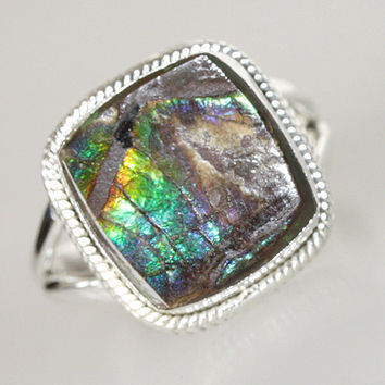 Ammolite Ring, Excellent As A Tool For Deep Meditation., 925 Sterling Silver Handmade Jewelry  ,All Sizes  - 904